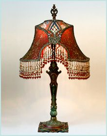 1875 best lamps images on pinterest victorian lamps chandeliers art nouveau lampshade with silk ribbon flowers aloadofball Images