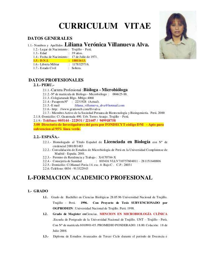Modelo De Curriculum Vitae Ucv Modelo De Curriculum Vitae