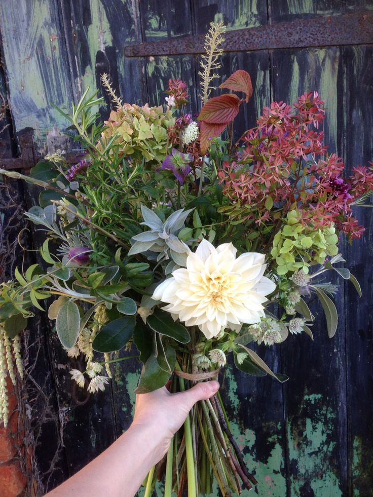 Late November British flower and foliage bouquet by BareBlooms