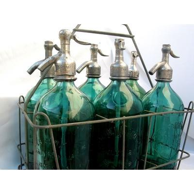 Vintage 1930's Green Soda Siphons