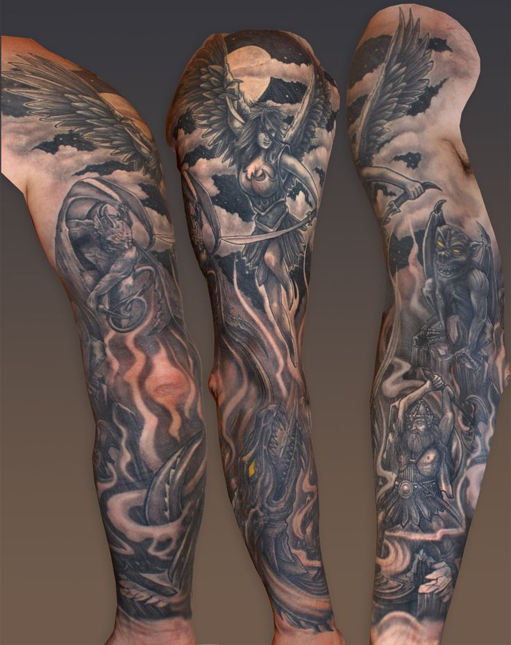 heaven and hell are the inspiration for this black grey sleeve by kyle at sin on skin halifax. Black Bedroom Furniture Sets. Home Design Ideas