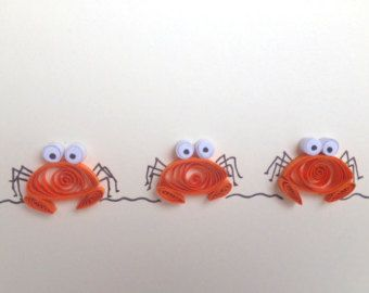 Quilled Card, Quilled Orange Crabs, Sea Themed Card, Blank Card, Quilled Art, Greeting Card, quilled animals