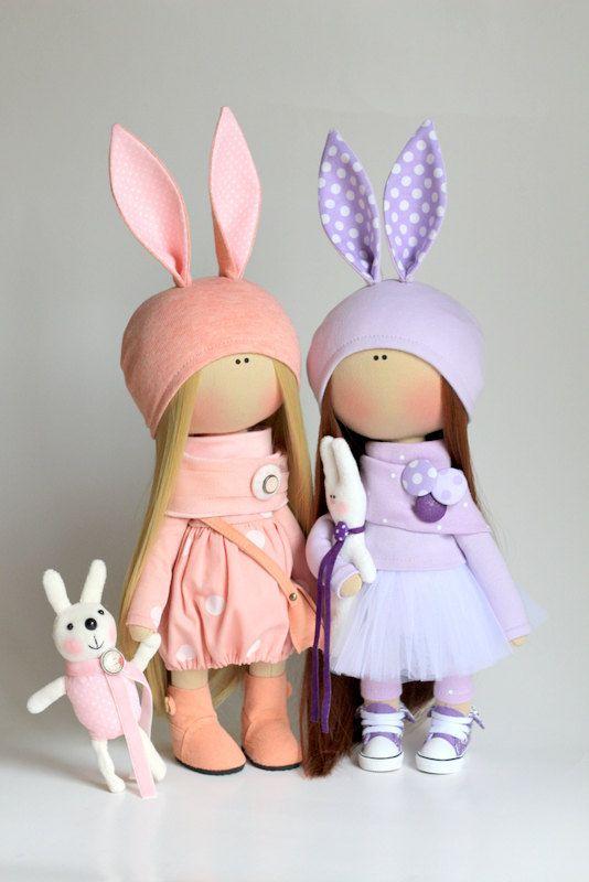 Rabbit doll handmade Cute doll Tilda doll by AnnKirillartPlace