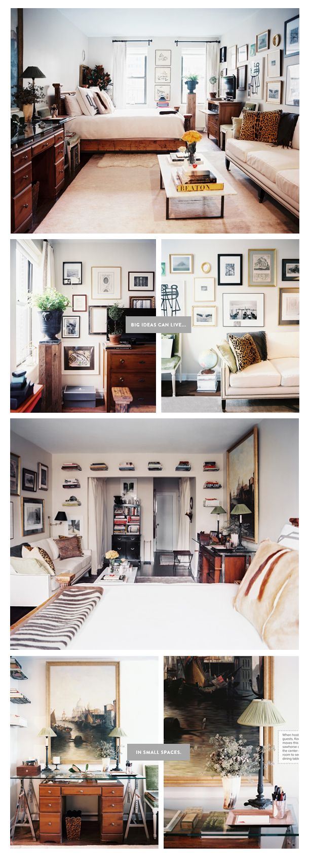A studio in Manhattan. If only I had known how to decorate when I lived in my studio. Life could have been so much more stylish.