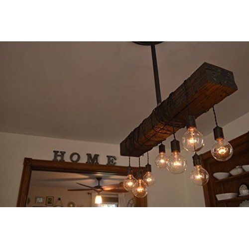 29 best lighting images on pinterest chandelier for Diy wood beam light fixture