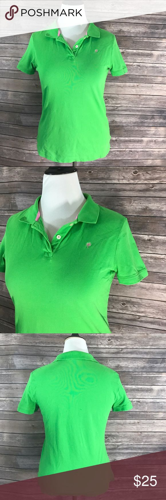 Lilly Pulitzer Womens Polo Top Size Large Green Lilly Pulitzer Womens Polo Top Size Large Green Short Sleeve Collared. Measurements: (in inches) Underarm to underarm: 19 Length: 25  Good, gently used condition Lilly Pulitzer Tops Tees - Short Sleeve