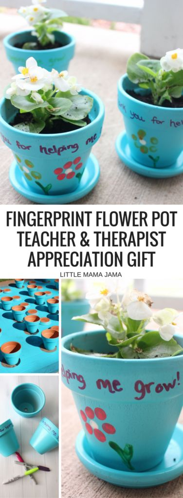 Personalize your teacher appreciation gift and therapist appreciation gift! These Fingerprint Flower Pots are a kid-friendly craft that are simple and fun to make. This end of the year gift will leave a lasting impression throughout the summer.