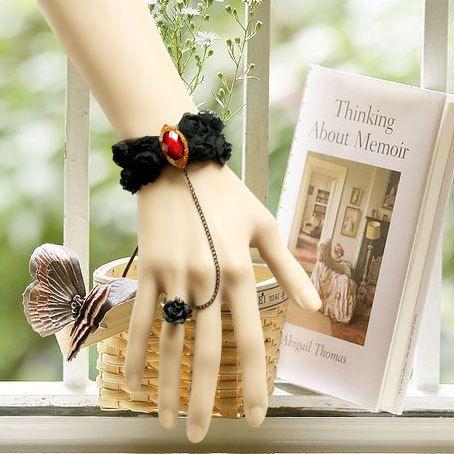 Charming Black Bow Lady Lolita Bracelet And Ring Set