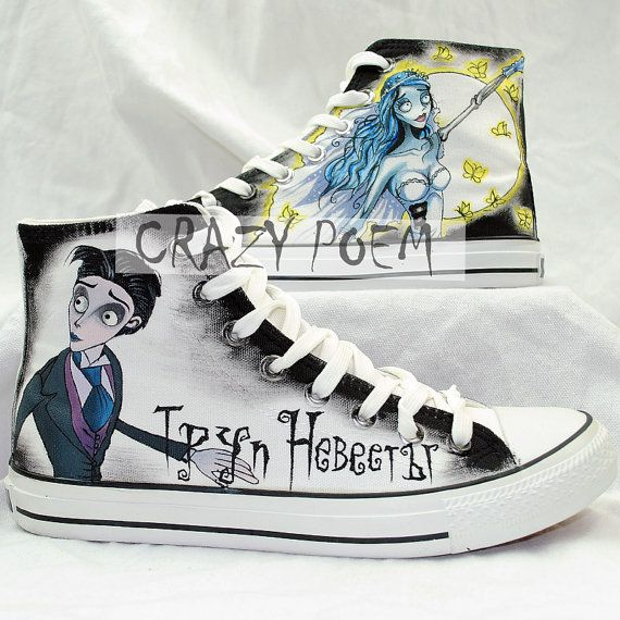 Corpse Bride Hand Painted Shoes Custom Fandom Shoes for Men Wome