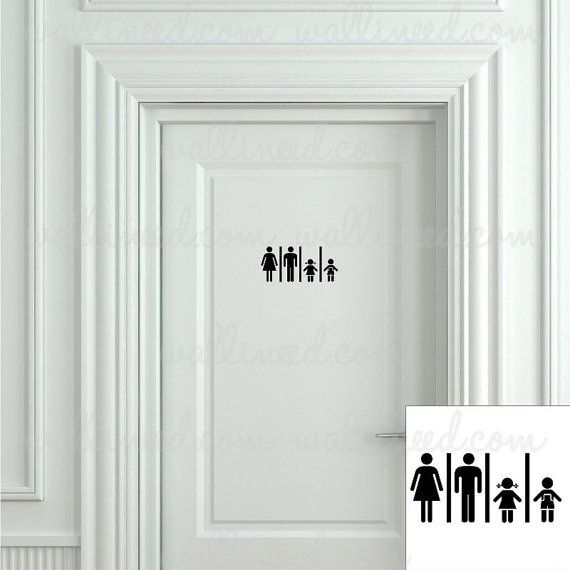 Family Restroom Toilet Sign Bathroom Sign Toilet Sign  Door Sticker Door Decal Toilet Decal