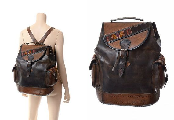Vintage HUGE Leather Backpack Bucket Bag by CkshopperVintage