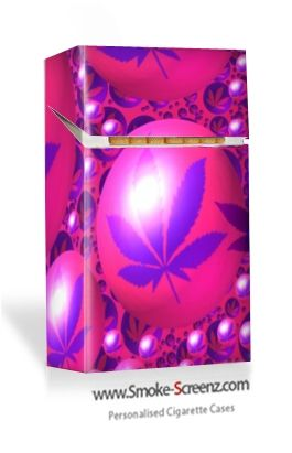 Pink Cannabis design on a Smoke Screenz cigarette case - almost 'mind blowing'!