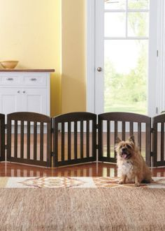 This beautifully crafted Freestanding Wooden Pet Gate is unlike the cumbersome gates of the past.
