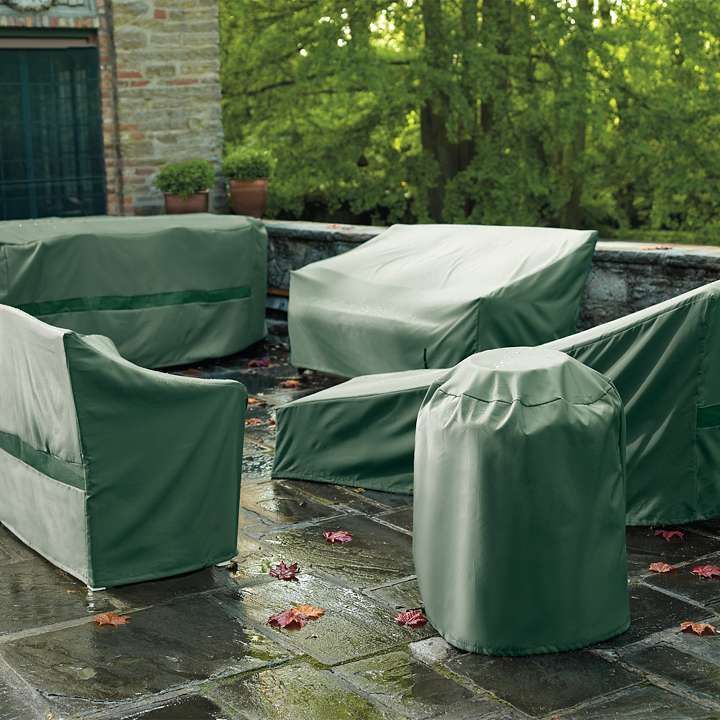 "All weather Furniture Covers - $15 - $69 Cover and protect all your outdoor furniture with our All-weather Furniture Covers. The patented design allows one person to cover even the largest piece of furniture easily, with just one hand.  • Covers ""lock"" tightly in place with drawstring and pull-spring action  • Water-, and UV-resistant polyester  • Vent flaps inhibit mold and mildew growth and allow air to circulate  • Covers fold flat for easy storage  •View dimensions to find the perfect…"