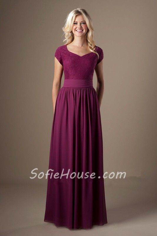 Modest A Line Sweetheart Cap Sleeves Scarlet Chiffon Lace Long Bridesmaid Dress