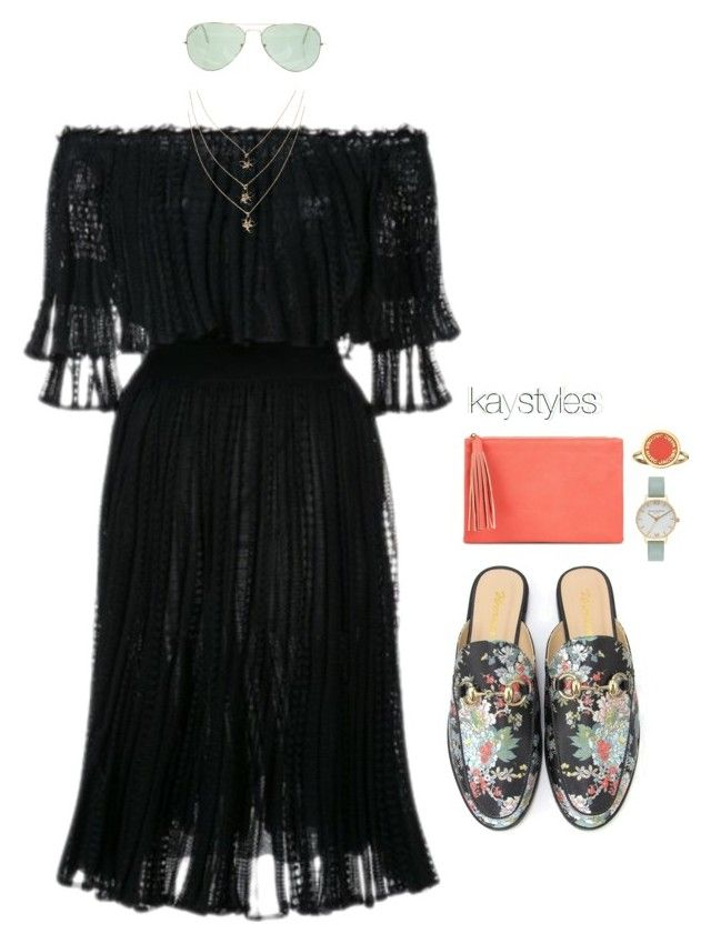"""""""Cold Sholder w/ Victorian Vibes"""" by kaystylesit on Polyvore featuring Alexander McQueen, Jessica McClintock, Olivia Burton, Marc Jacobs and Ray-Ban"""