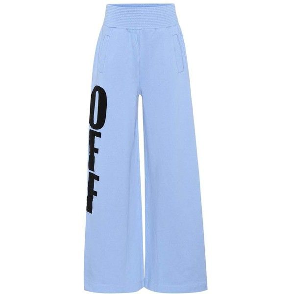 Off-White Off Big Cotton-Jersey Trousers ($615) ❤ liked on Polyvore featuring pants, bottoms, blue, trousers, cotton jersey, off white trousers, blue trousers, cotton jersey pants and off white pants