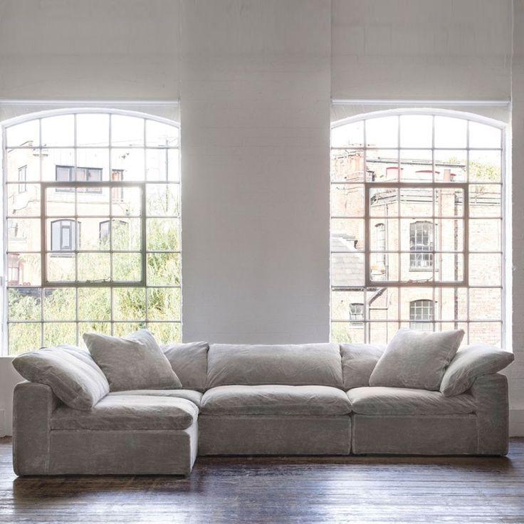 Andrew Martin Truman Sectional Sofa Grey Velvet