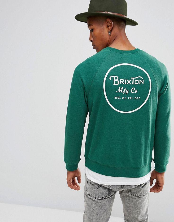 BRIXTON WHEELER SWEATSHIRT WITH BACK PRINT - GREEN. #brixton #cloth #