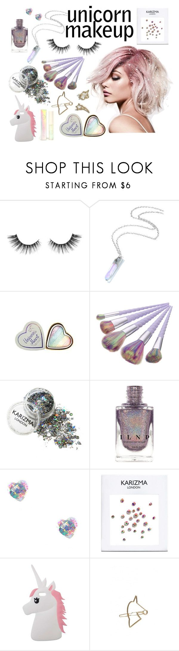 """unicorn makeup"" by peyton-shayy ❤ liked on Polyvore featuring beauty, Unicorn Lashes, Miss Selfridge, Johnny Loves Rosie and ASOS"
