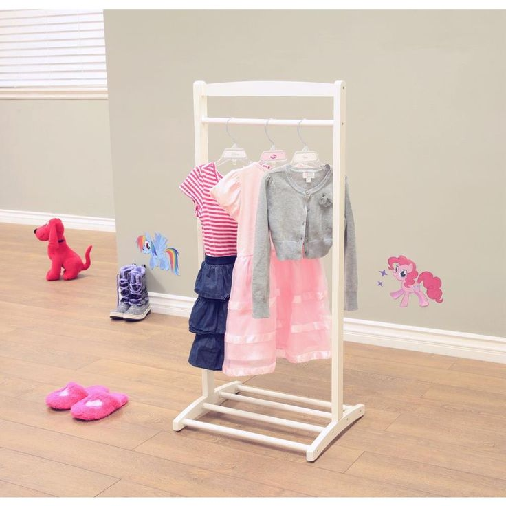 Homecraft Furniture 1-Hook Kid's Contemporary Wooden Cloths Hanger in White