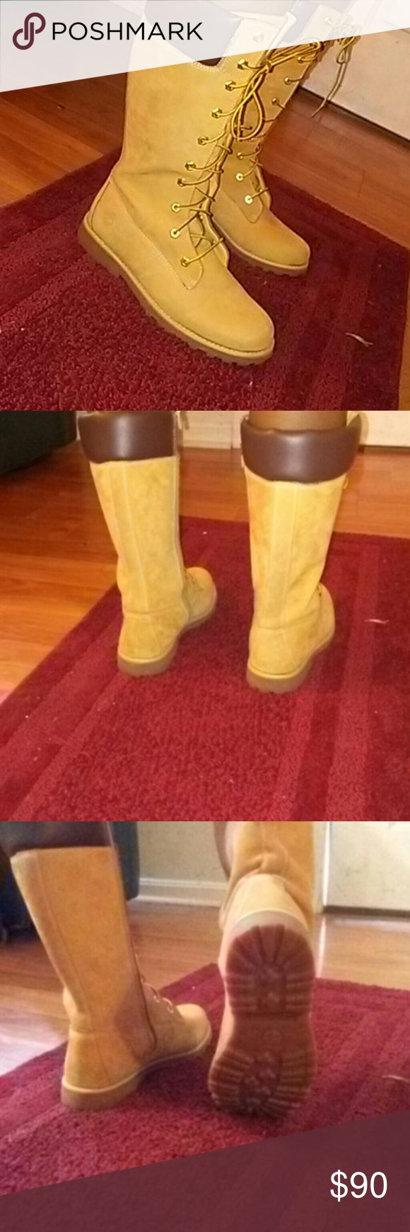 Women Timberland boots !!!!!!!DEAL Wheat Timberland boots ...goes up calf ....brand new...i purchased these in the mall and literally wore them once for 2 hours...they have resided in my closet ...great condition Timberland Shoes Over the Knee Boots