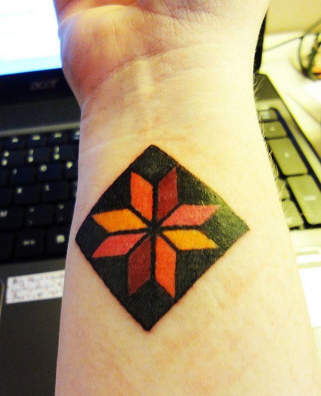 Quilt block tattoo