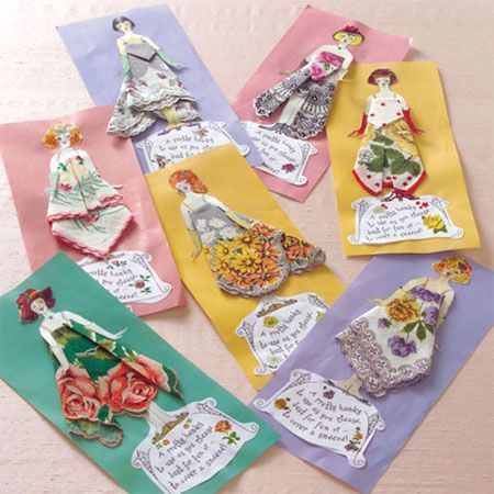 Handkerchief Greeting Cards Vintage Handkerchiefs