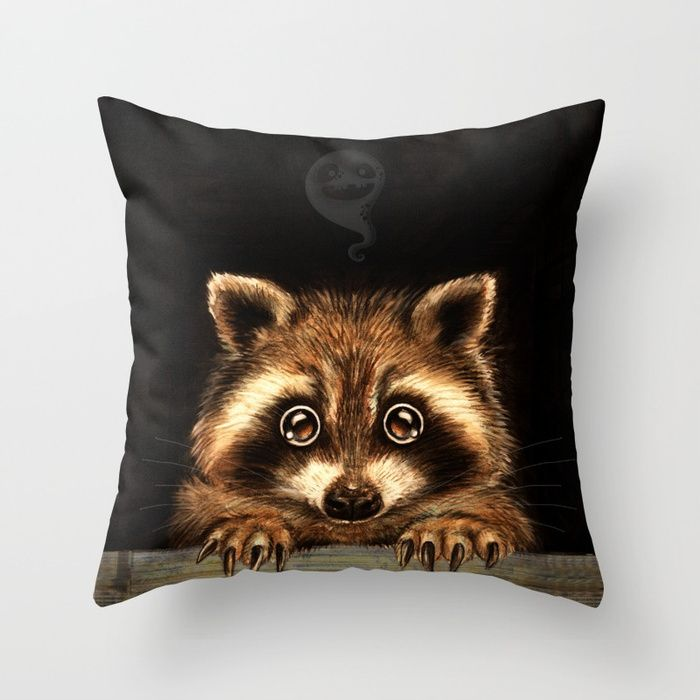 Cute Halloween raccoon Behind you Throw Pillow by Patrizia Ambrosini | Society6 #pillow #homedecor #decorpillows