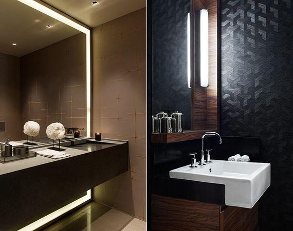 badideen mit badezimmerspiegeln und spiegelbeleuchtung_moderne wandgestaltung bad mit tapete in schwarz und beige - Wandgestaltung Bad