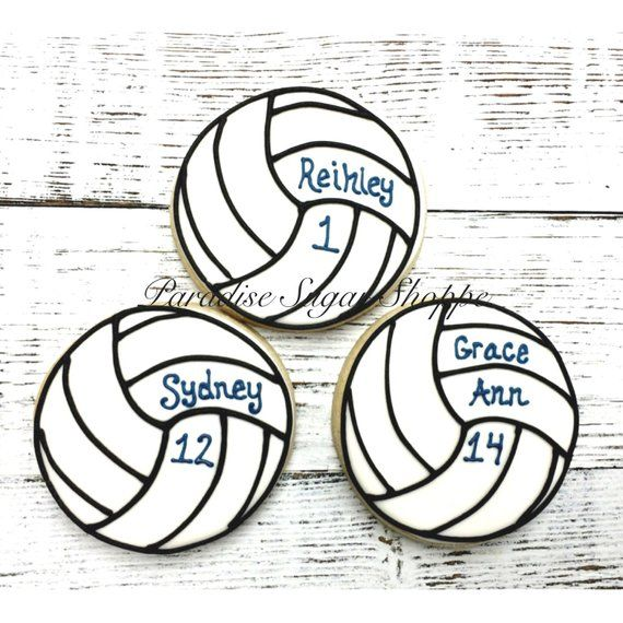One Dozen Volleyball Cookies With Name And Number Volleyball Cookies Volleyball Cakes Sugar Cookies Decorated