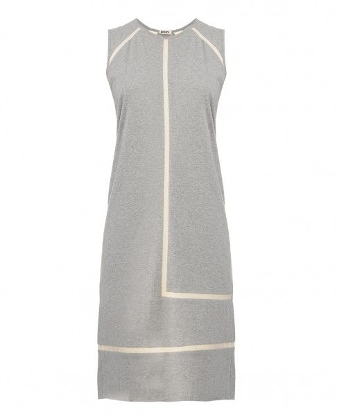 Gray Twill Lines Jersey Dress