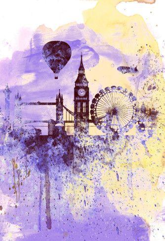 London Watercolor Skyline poster