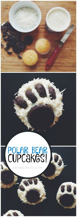 """Polar Bear Paw Print Cupcakes - These easy cupcakes are """"beary"""" cute and delicious! This recipe was inspired by the film 'Norm Of The North', opening in theaters on January 15th! #NormOfTheNorth #ad"""