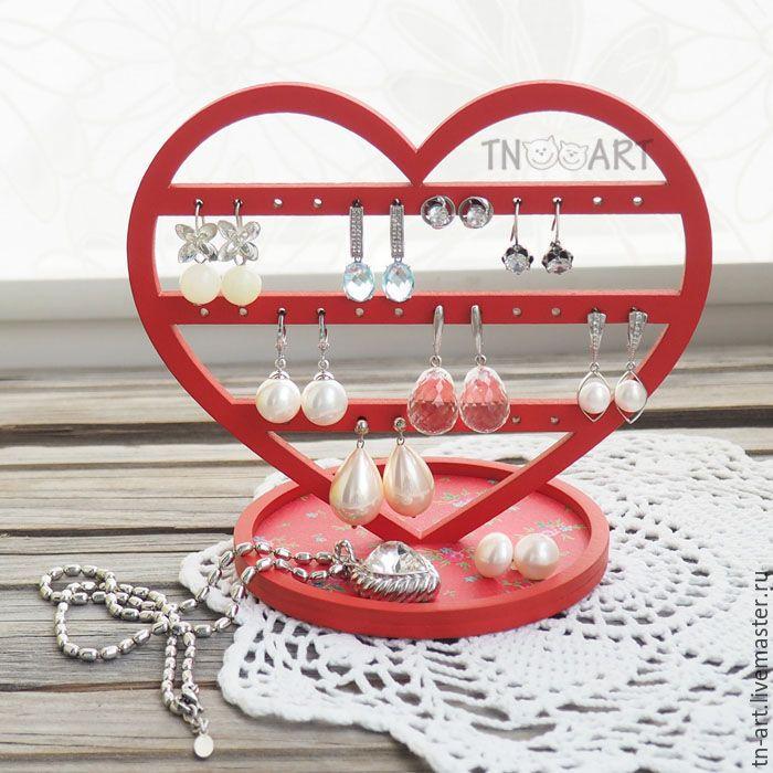 """Купить Подставка для украшений """"Сердце"""" (красный цвет) - подставка для украшений, подставка для бижутерии"""