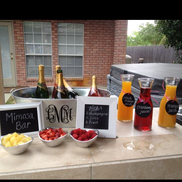 Mimosa Bar I put together for a girlfriends bridal shower... Such fun!