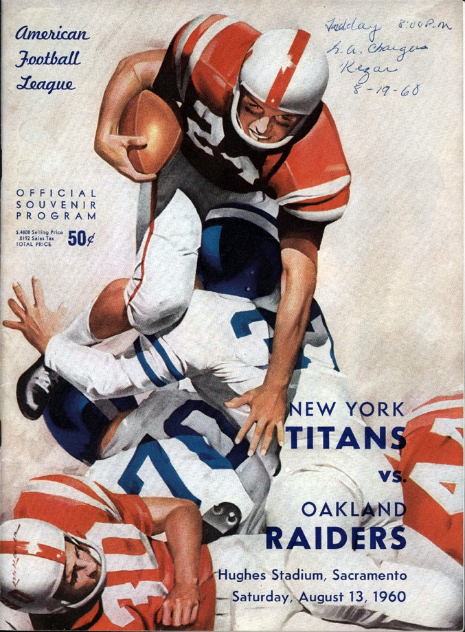 AFL game program (New York Titans at Oakland Raiders — August 13, 1960)