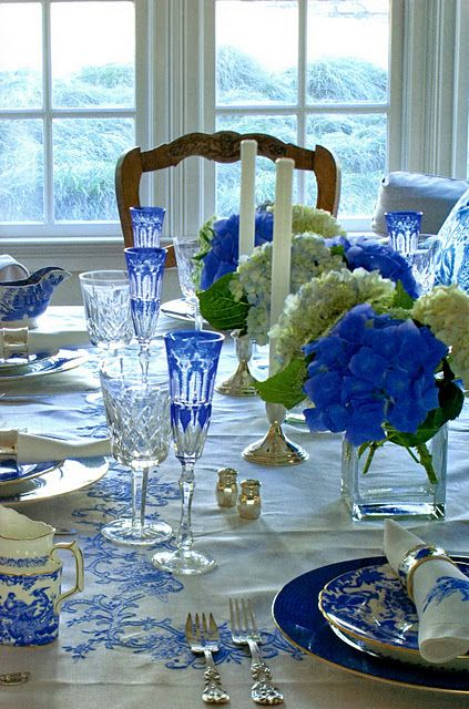 Table setting in blue - lots of beautiful cobalt blue glass and blue/white china at www.hendersonmemories.com