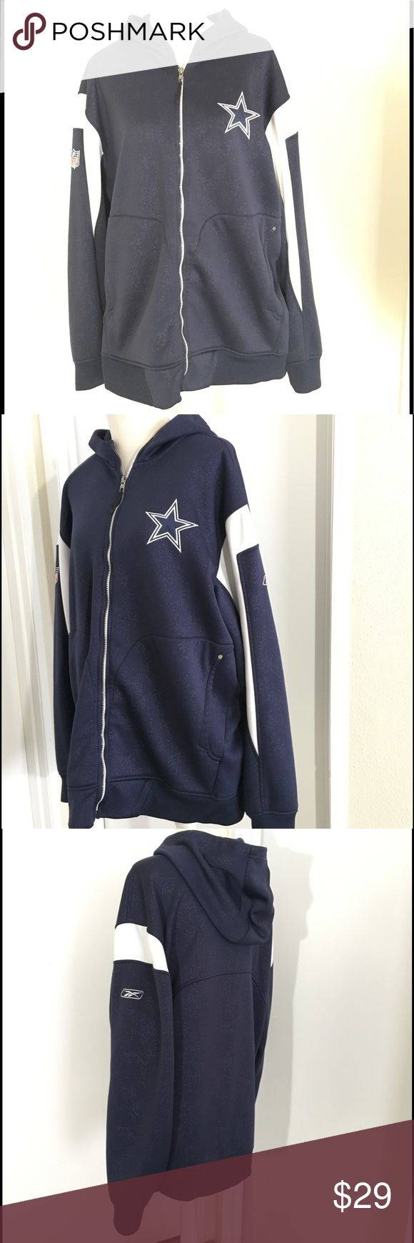 Dallas Cowboys NFL Zip up Sweater Size XL In great conditions. No stains pulls or flaws. Reebok Sweaters Zip Up