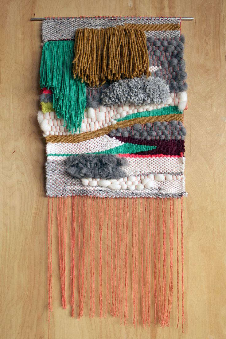 "Encinitas / 2013 18"" x 40"" Wool, Cotton, Acrylic"