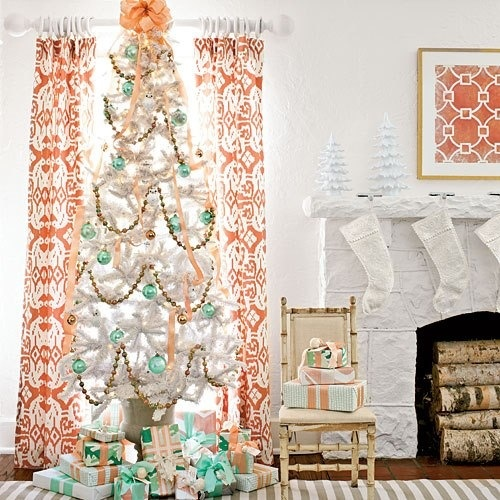 Southern peach and turquoise christmas tree love for Non traditional christmas tree ideas
