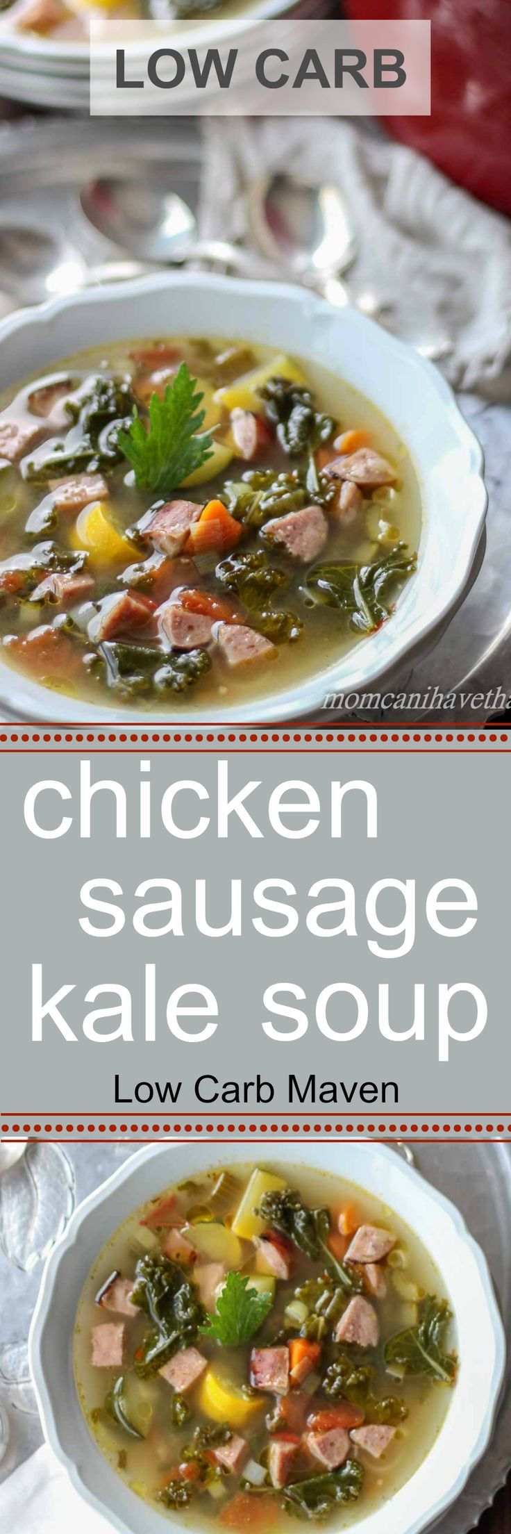 This warming soup with chicken, sausage & kale makes the perfect low carb lunch.