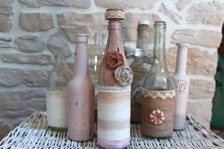 1000 images about riciclo bottiglie recycling bottles - How to decorate glass bottles ...