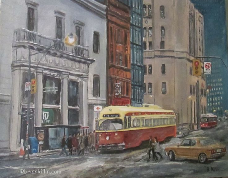#TTC #Streetcar  #Streetcarart  painting of streetcars at King and Yonge 1980's  Cityscape painting with TD bank and CIBC #briankillinart vintage streetcar PCC