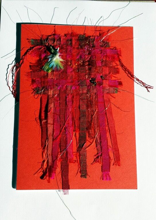 Birthday card by Gretchen Howard. ..woven dupion silks, shells, feathers