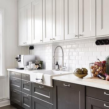 White Kitchen Cabinets with Black Apron Sink - Transitional - Kitchen #LGLimitlessDesign #Contest