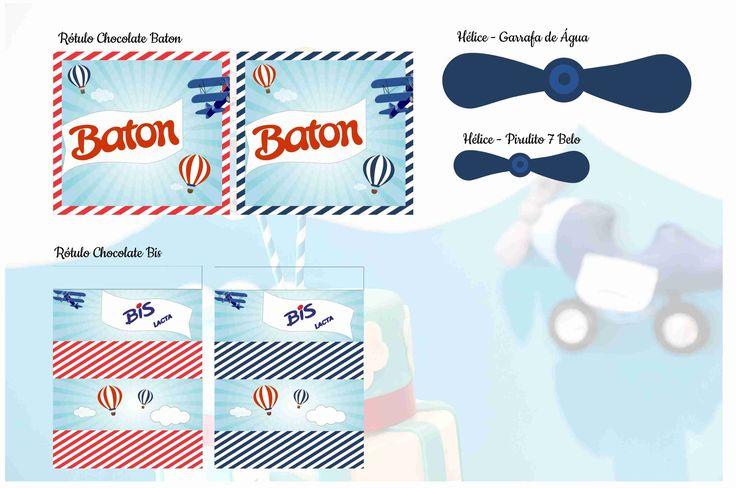 Rótulo Chocolate Batom - Tema Avião Hélice Garrafa de Água - Tema Avião Rótulo Chocolate BIS - Tema Avião