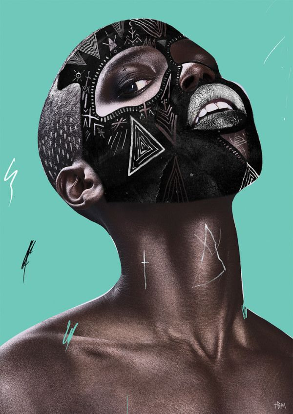 Tribal Geometry on Faces :: Portraits by The Black Math | Minimo Graph