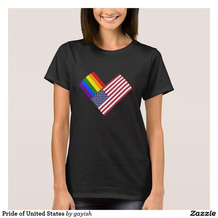 Pride of United States t-shirt.  #gaypride #gayrights #tshits #prideshirt #pride #flags #heart #usa #unitedstates #gayusa