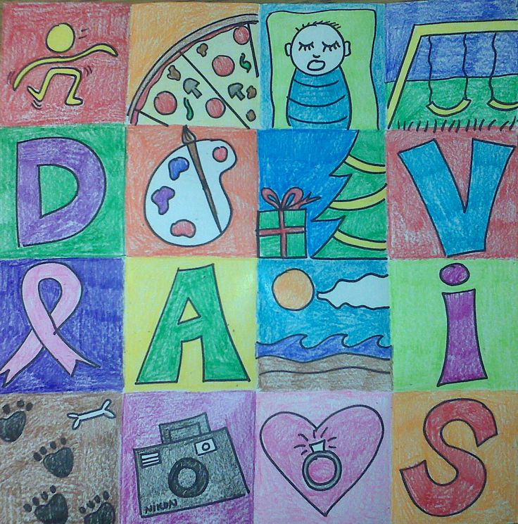 Fold paper into squares. Kids write their first name in bubble letters--one in each square. Then color symbols that describe their interests. Brainstorm holidays, hobbies, family, sports, memories, et cetera with the kiddos. Will look good on display for open house. (from I heart art)